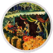 Market In Provence Round Beach Towel