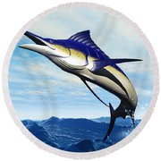 Marlin Jump Round Beach Towel by Corey Ford