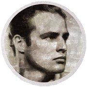Marlon Brando, Vintage Actor Round Beach Towel