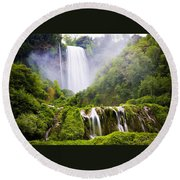 Marmore Waterfalls Italy Round Beach Towel