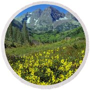 210403-v-maroon Bells And Sunflowers  Round Beach Towel