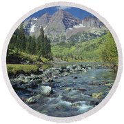 210404-maroon Bells And Creek  Round Beach Towel