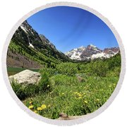 Maroon Bells In Summer 2 Round Beach Towel
