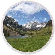 Maroon Bells Trail Panorama Round Beach Towel