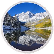 Maroon Lake And Bells 1 Round Beach Towel