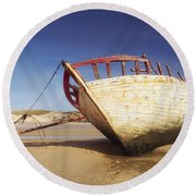 Marooned Boat Round Beach Towel