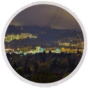 Marquam Hill And Portland Bridges At Night Round Beach Towel
