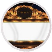 Marquee Lights Blank Sign Round Beach Towel