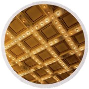 Marquee Lights On Theater Ceiling Round Beach Towel