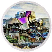 marques de riscal Hotel at sunset - frank gehry - vintage version Round Beach Towel