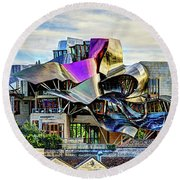 marques de riscal Hotel at sunset - frank gehry Round Beach Towel