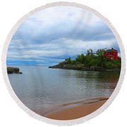 Marquette Harbor Lighthouse Round Beach Towel