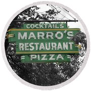 Marro's Restaurant Round Beach Towel