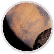 Mars And Phobos Round Beach Towel