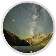 Mars And The Milky Way Round Beach Towel