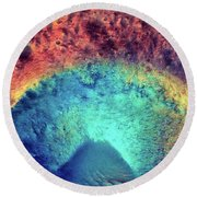 Mars Crater Surface Colorful Painting Round Beach Towel