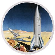 Mars Mission, 1950s Round Beach Towel