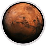 Mars The Red Planet Round Beach Towel