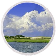 Marsh And Dunes Round Beach Towel