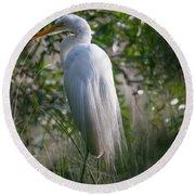 Marsh Heron Round Beach Towel