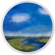Marsh In The Low Country Round Beach Towel