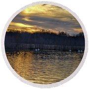 Marsh Ripple Pond Round Beach Towel