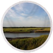 Marsh Scene Charleston Sc Round Beach Towel