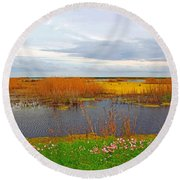 Marsh Spring Round Beach Towel