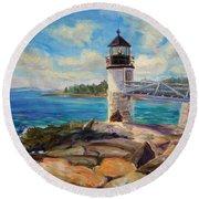 Marshal Point Light Round Beach Towel