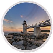 Marshall Point Lighthouse Reflections Round Beach Towel