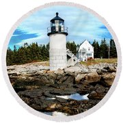 Marshall Point Reflection Round Beach Towel