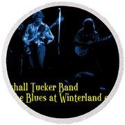 Marshall Tucker Winterland 1975 #18 Enhanced In Blue With Text Round Beach Towel