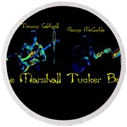 Marshall Tucker Winterland 1975 #19 Enhanced In Cosmicolors With Text Round Beach Towel