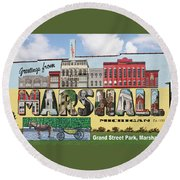 Marshall Vintage Postcard Round Beach Towel