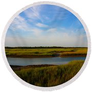 Marshland Charleston South Carolina Round Beach Towel