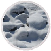 Marshmallow Rocks Round Beach Towel