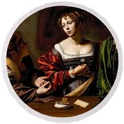 Martha And Mary Magdalen Round Beach Towel