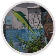 Martha Lou's Kitchen Round Beach Towel