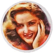 Martha Vickers, Vintage Hollywood Actress Round Beach Towel