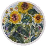 Martha's Sunflowers Round Beach Towel