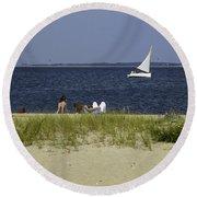A Day At The Beach 2 - Martha's Vineyard Round Beach Towel