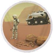 Martian Exploration Round Beach Towel