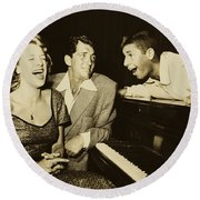Martin, Lewis, And Clooney Round Beach Towel
