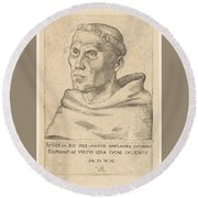 Martin Luther As An Augustinian Monk Round Beach Towel