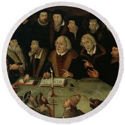Martin Luther In The Circle Of Reformers Round Beach Towel