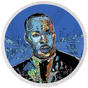 Martin Luther King Color Round Beach Towel