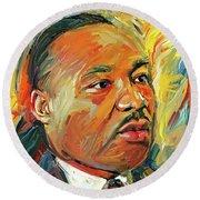 Martin Luther King Portrait 1 Round Beach Towel