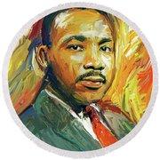 Martin Luther King Portrait 2 Round Beach Towel