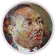 Martin Luther King Portrait Mosaic 1 Round Beach Towel