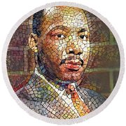 Martin Luther King Portrait Mosaic 2 Round Beach Towel